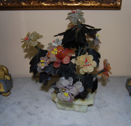 OLD CHINESE LUCKY JADE AND SEMI-PRECIOUS STONES FLOWERING TREE ON STAND