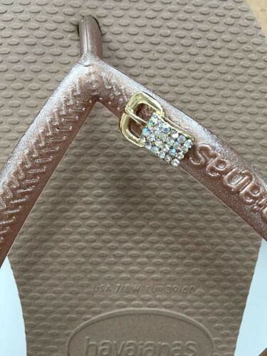 Original Havaianas SLIM Rose Gold Crystal Or Personalized Crystal Charms  <br/> NEXT  DAY  tracked shippment - Original box