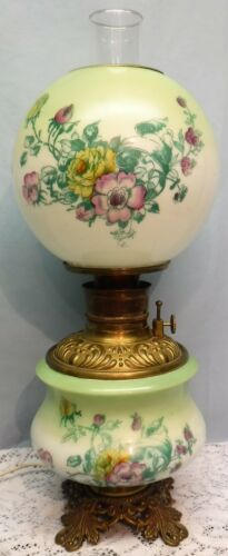 Antique Signed Pittsburgh GWTW Oil Lamp Electrified Green Purple Floral