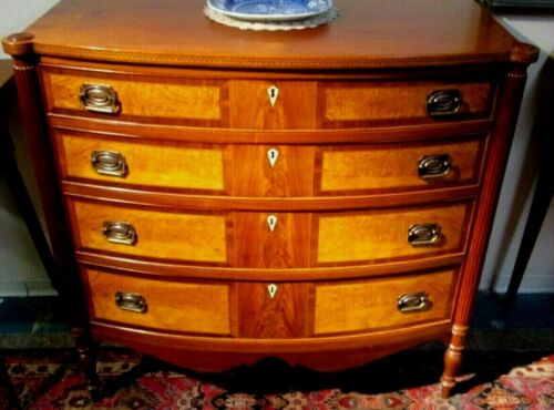ANTIQUE SALEM FLAME BIRCH BOW FRONT CHEST W/SCALLOP BASE 1800's FEDERAL STYLE