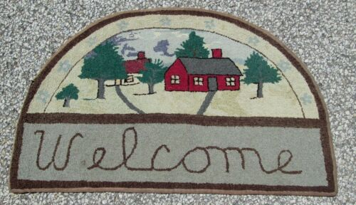 ANTIQUE AMERICAN WELCOME HOOKED RUG_HARD TO FIND SIZE FINE ESTATE PURCHASED PC.