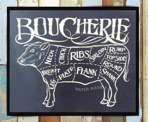 Butcher French Boucherie Meat Chart Print  retro art decor vintage meat chart