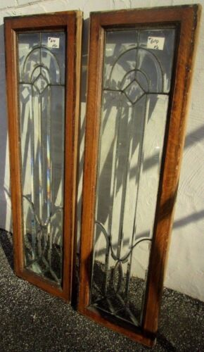"""PAIR SOLID OAK ANTIQUE ALL BEVELED GLASS 55"""" SIDELIGHTS ESTATE # 619 RARE SIZE"""