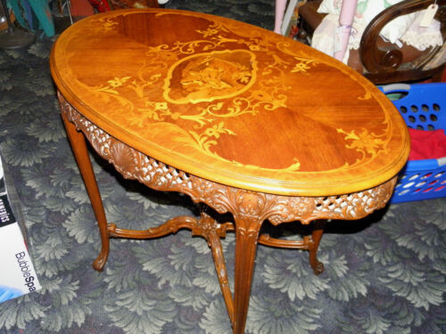 Vintage Victorian Ornate Inlaid and Heavily Carved Italian parlor table! 1940's