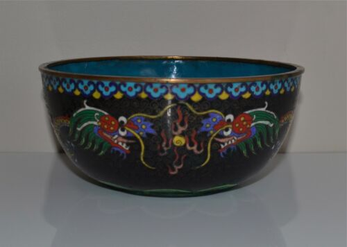 Antique Chinese Cloisonne Bowl Black-Ground Dragons Flaming Pearl