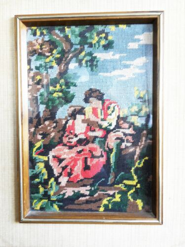 """Vintage Antique Tapestry Lovers Scene Wall Plaque w/ Wooden Frame 16.5"""" x 13"""""""