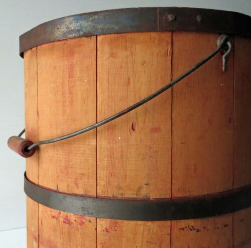 """Antique  Wood Firkin with Cover & Bail Handle 13 1/2"""""""