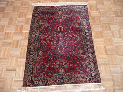 3'6 X 4'10 Hand Knotted Red Antique Persian Fine Sarouk Oriental Rug G1805