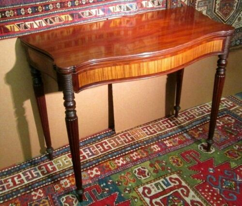 "ANTIQUE AMERICAN BOSTON FEDERAL CARD TABLE W/ SATINWOOD PANELS CIRCA 1800. 38"" w"