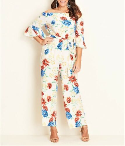 Crossroads Flora Bell Sleeve Off The Shoulders Jumpsuit Size 16 Drawstring Waist