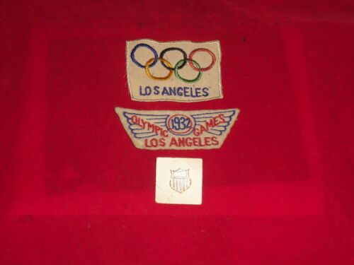 Vintage Official 1932 LA Olympic Cycling Team Issue Competitor Patches And Pin.