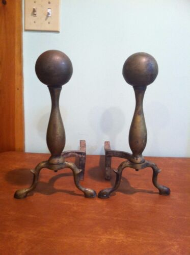 Antique Brass and Cast Iron Fireplace Cannonball Andirons
