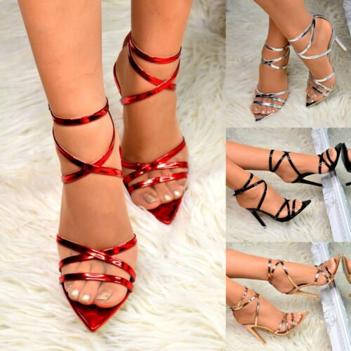 Womens Sexy High Heel Stiletto Sandals Barely There Shoes Evening Party size 3-8