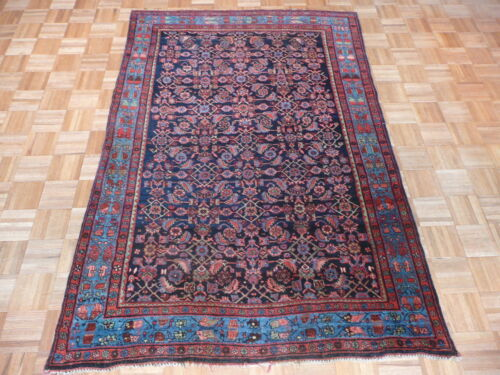4'9 X 7 Hand Knotted Navy Blue Antique Fine Bidjar Oriental Rug G1955