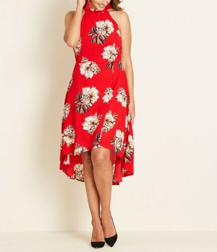 Crossroads Bright Red Floral Halter Neck Wrap High Low Sleeveless Dress Size 22