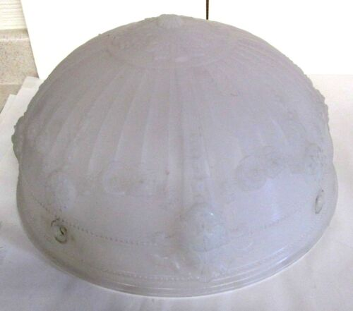 ANTIQUE GLASS HANGING GLOBE LIGHT FIXTURE BEAUTIFUL FROSTED TYPE  INDY ESTATE