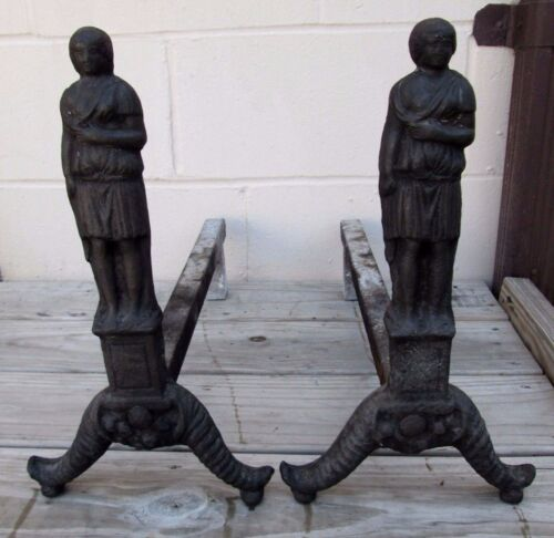 RARE PAIR OF FULL BODIED EARLY 1800S ANTIQUE AMERICAN FIGURAL CAST IRON ANDIRONS