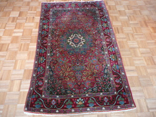 4'2 X 6'10 Hand Knotted Red Antique Fine Kirman Oriental Rug G1905
