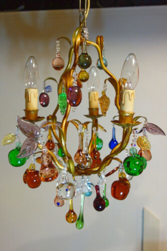 1920's-1940's Gold Gilded Murano Glass French Fruit Chandelier Possibly Lobmeyr