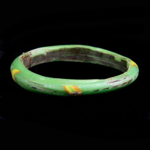 Islamic red, green and yellow glass bracelet. y974
