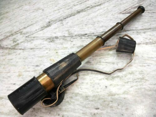Nautical Telescope Brass With Leather Grip 24 inch Marine Collectible Decor
