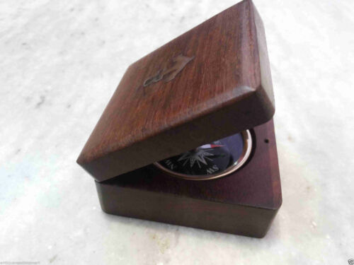 Wooden Squire Box Vintage Antique Brass Compass Nautical Anchor Gift