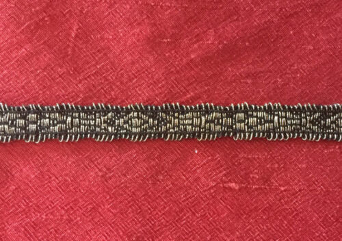 """Antique  French Metallic Silver Trim Border 3/8"""" wide Made in France BTY"""