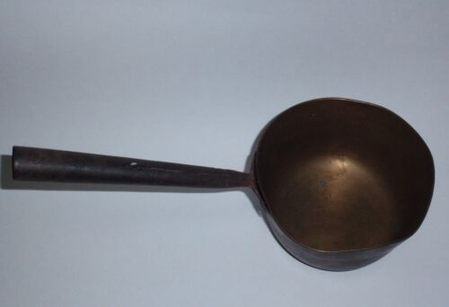 Antique Pennsylvania brass ladle wrought iron handle, hearth cooking c1830-70