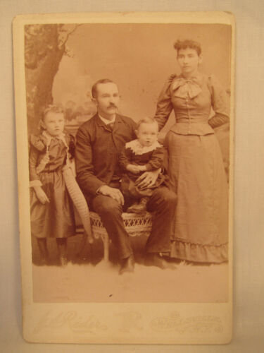 Antique Cabinet Card Photo J.A. Rider Wellsville New York NY Names On Back