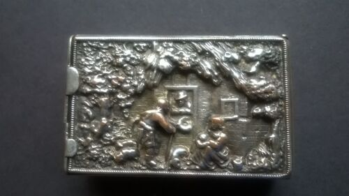 RARE ANTIQUE SILVER PLATED PARTITIONED MATCH SAFE FIRE BIRD AND CITY SCENE