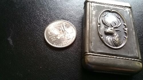 BEAUTIFUL ANTIQUE SILVERPLATE LADY BUST AND ELK DECORATED MATCH SAFE