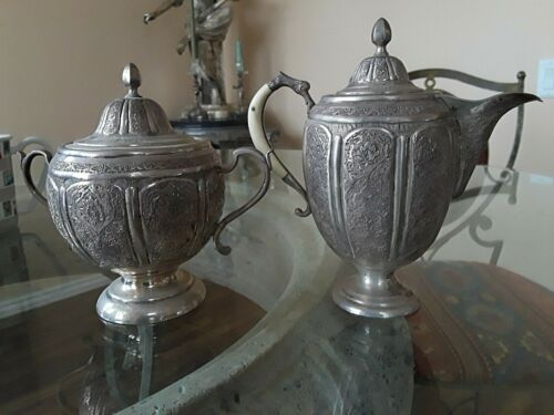 BEAUTIFUL ANTIQUE PERSIAN SOLID SILVER CREAMER AND SUGAR BOWL SET
