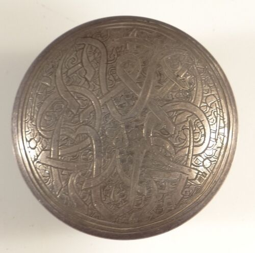 ANTIQUE TRIBAL PERSIAN STERLING SILVER round box CASE HALLMARKED