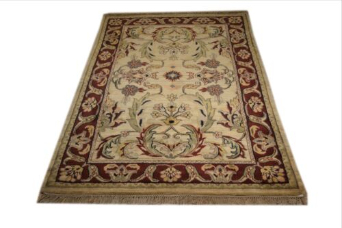 """Crafters&Weavers Oriental rug Indian Vegetables Dyes size  4' 1"""" X 6' 2"""" # 12011"""