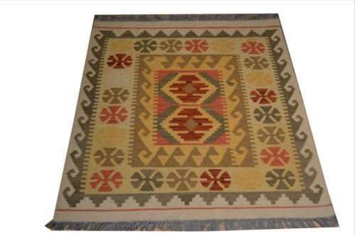 """Crafters&Weavers Oriental Kilim Tribal Vegetables Dyes size 3' 1""""  x 3' 5"""" #3295"""