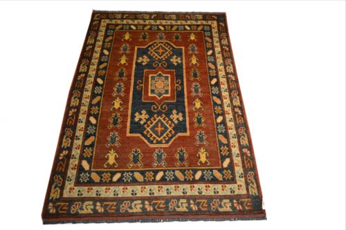 """Crafters&Weavers Oriental rug Kazak Vegetables Dyes size 3' 4""""  x 5' 3""""  # A 22"""