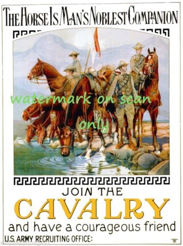1920 U.S. Army~Join Cavalry Poster~Soldiers on Horses~ NEW  Lge Note CardsReproductions - 156372