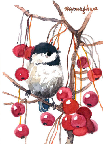 ACEO Limited Edition- Baby chickadee and berries, Bird art print, Home deco idea
