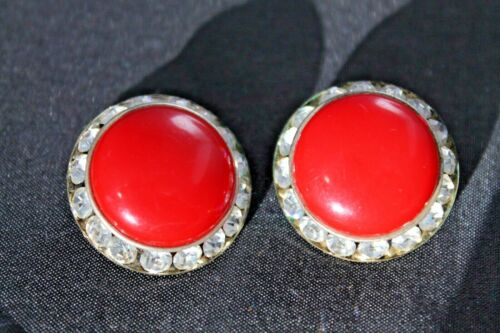 Art Deco Clip On Earrings Rhinestone Crystal Paste Bakelite ? Early Plastic