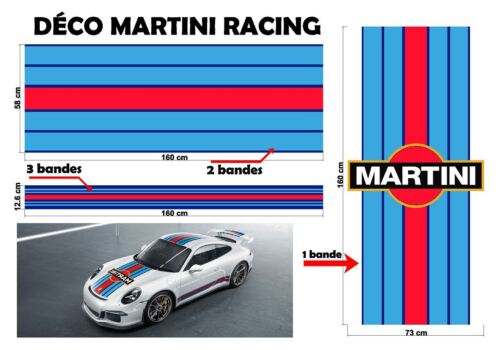 """Le Mans Martini Racing style Stripe and Logo """"universel*"""" Sticker bandes"""