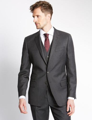 M&S COLLECTION Luxury Dark Grey Pure New Wool Slim Fit Suit 40L/ 30/33 34M/30""