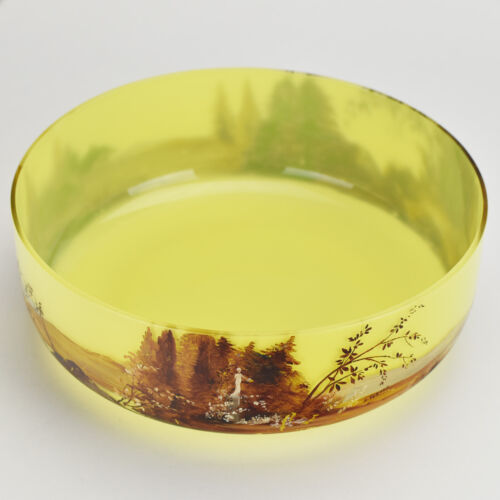 Antique Cold Painted Glass Bowl Signed H. Glaser Art Nouveau Legras Style