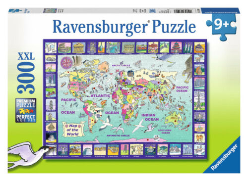 Ravensburger Looking at the World Jigsaw Puzzle 300pc | World Map Kids Puzzle 9+