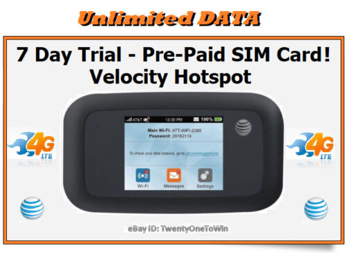 AT&T UNLIMITED Data 4G LTE Velocity Hotspot PLUS Full 7 day trial Prepaid SIM