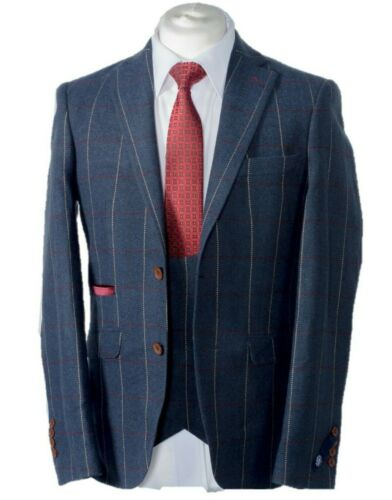 MEN'S 3 PIECE BLUE CHECK TWEED JACKET, WAISTCOAT, TROUSERS SOLD SEPARATELY