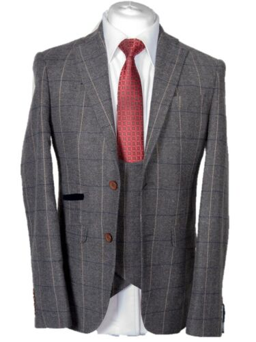 MEN'S 3 PIECE GREY CHECK TWEED JACKET, WAISTCOAT, TROUSERS SOLD SEPARATELY