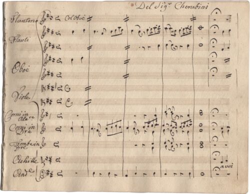CHERUBINI LUIGI Manoscritto Musica Opera CAVATINA Ifigenia in Aulide Partitura