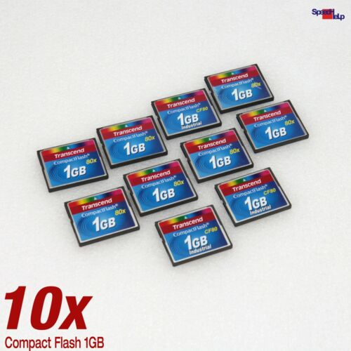 10x Pack 1GB Cf Transcend Compact Flash 80X Highspeed for PC Cameras Canon Nikon