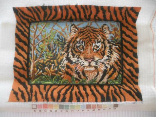 VINTAGE COMPLETD LONG STITCH TAPESTRY TIGER WITH TIGER PRINT BORDER SUIT UPCYCLE