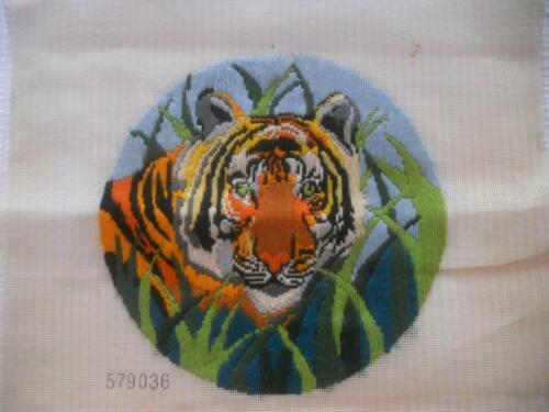 VINTAGE COMPLETED ROUND LONG STITCH TAPESTRY TIGER SUIT FRAME CUSHION UPCYCLE